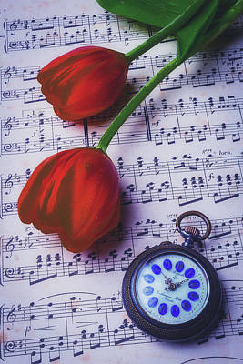 Tulips And Pocket Watch Poster by Garry Gay