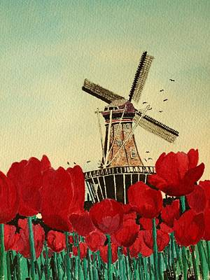 Tulips And Windmill Poster by Diane Merkle