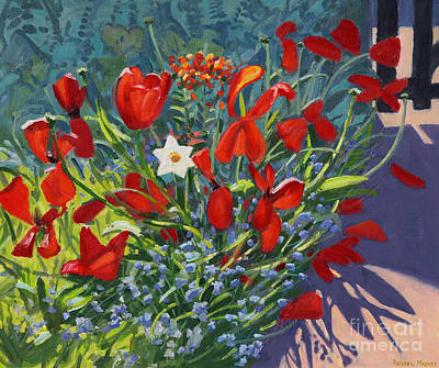 Tulips By The Gate Poster by Andrew Macara