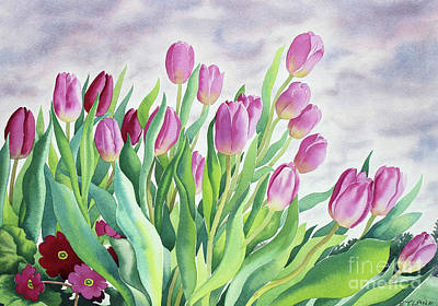 Tulips By Window Poster