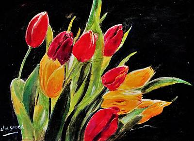 Tulips Colors Poster by Khalid Saeed