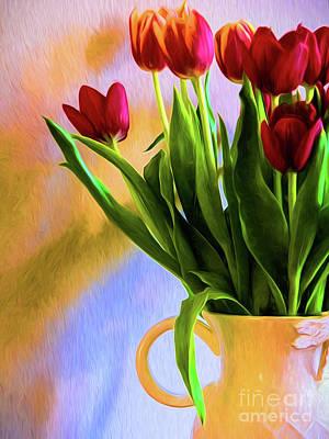 Tulips - Digital Art Poster by Kathleen K Parker