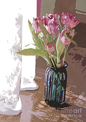 Tulips In A Glass Vase Poster by David Lloyd Glover