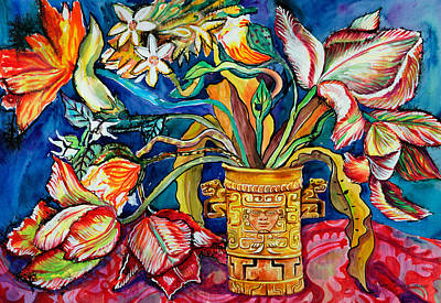 Tulips In Mexican Vase Poster