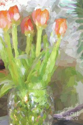 Tulips In The Window Poster by Cheryl Rose
