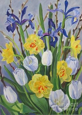 Tulips Iris And Daffodils Poster