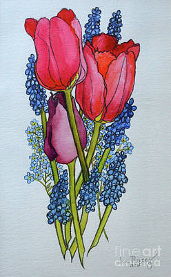 Tulips, Muscari And Forget-me-nots Poster