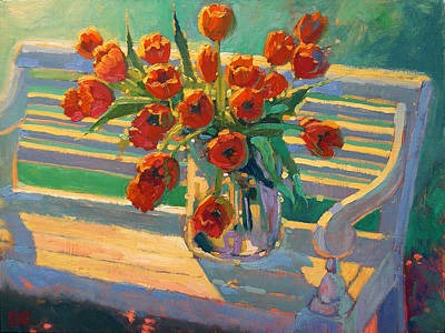 Tulips On A Garden Bench Poster by Robert Lewis