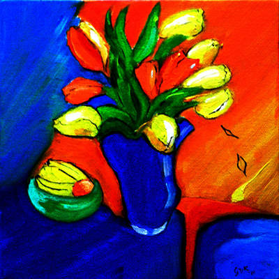 Tulips On My Table Poster