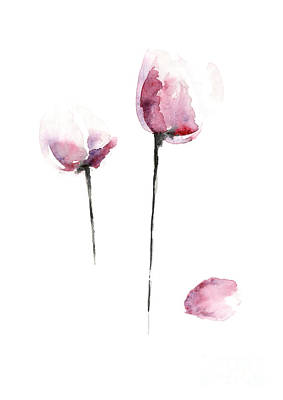 Tulips Watercolor Flower Art Print, Purple Home Decor, Pink Tulip Painting Poster