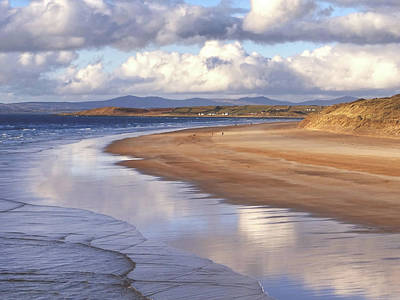 Tullan Strand - Clouds Reflected In The Sea, The Beach And Donegal Hills Poster