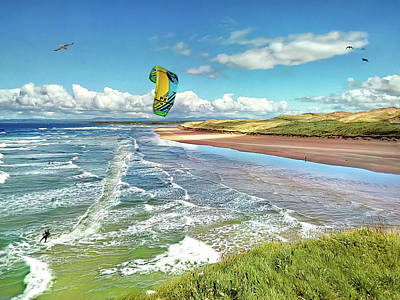 Tullan Strand - Surf, Blue Sky And A Kite Surfer Enjoying The Waves Poster