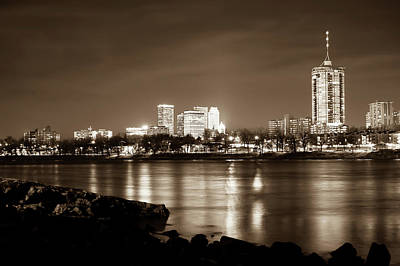 Tulsa Downtown Skyline River View - Sepia Edition Poster by Gregory Ballos