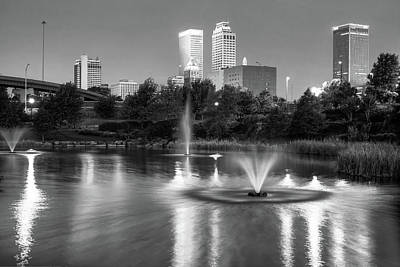 Tulsa Downtown Skyline Water Reflections - Black And White Poster by Gregory Ballos