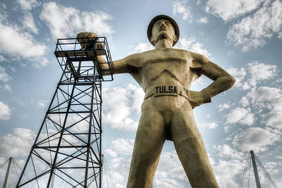 Poster featuring the photograph Tulsa Driller Tulsa Oklahoma - Vintage Colors by Gregory Ballos