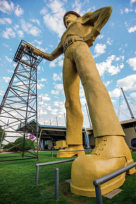 Poster featuring the photograph Tulsa Golden Driller From Below by Gregory Ballos