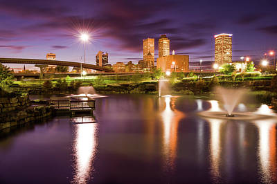 Poster featuring the photograph Tulsa Lights - Centennial Park View by Gregory Ballos