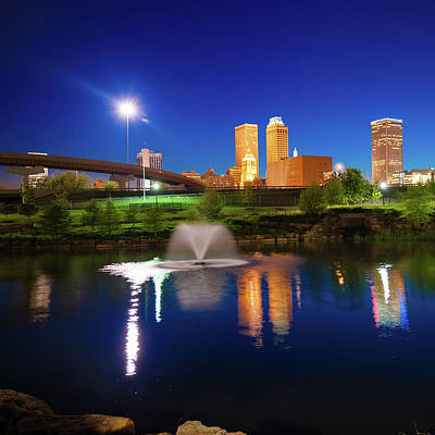 Poster featuring the photograph Tulsa Oklahoma City Skyline In Midnight Blue by Gregory Ballos