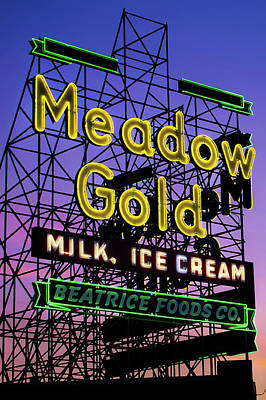 Poster featuring the photograph Tulsa Oklahoma Meadow Gold Neon - Route 66 Photo Art by Gregory Ballos