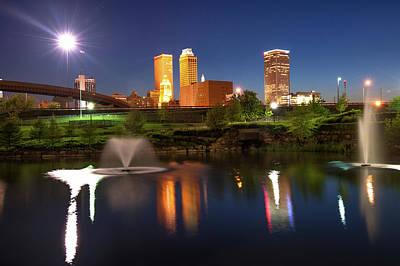 Tulsa Oklahoma Night City Skyline Reflections Poster