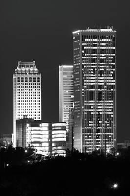 Tulsa Oklahoma Night Cityscape Black And White Poster