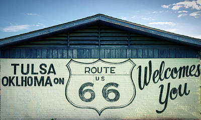 Poster featuring the photograph Tulsa Oklahoma On Route 66 Welcomes You by Gregory Ballos
