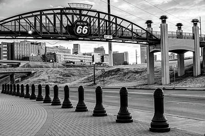 Poster featuring the photograph Tulsa Oklahoma Route 66 - Cyrus Avery Plaza - Black And White by Gregory Ballos