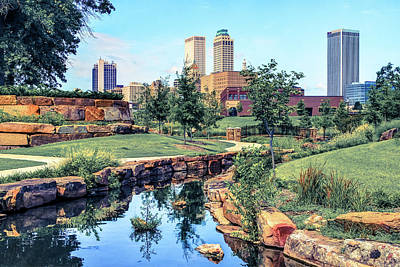 Tulsa Oklahoma Skyline View From Central Centennial Park 3 Poster by Gregory Ballos