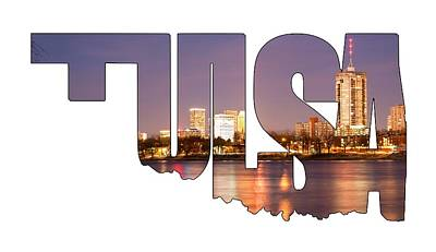 Tulsa Oklahoma Typographic Letters - Tulsa Oklahoma From The Shoreline Poster by Gregory Ballos