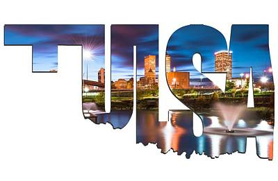 Tulsa Oklahoma Typographic Letters - Tulsa On The Water Poster