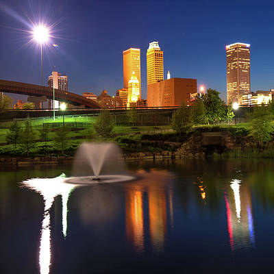 Poster featuring the photograph Tulsa Skyline On The Water 1x1 - Color by Gregory Ballos