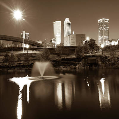 Poster featuring the photograph Tulsa Skyline On The Water 1x1 - Sepia by Gregory Ballos