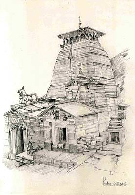 Poster featuring the painting Tungnath by Padamvir Singh