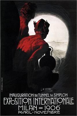 Tunnel Du Simplon - International Exposition Milan - Vintage Advertising Poster Poster