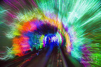 Poster featuring the photograph Tunnel Lights by Angela DeFrias