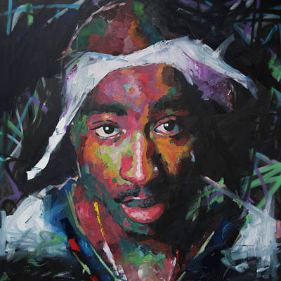 Poster featuring the painting Tupac Shakur by Richard Day