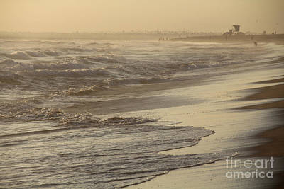 Turbulent Seas Sunset Beach Poster by Linda Queally