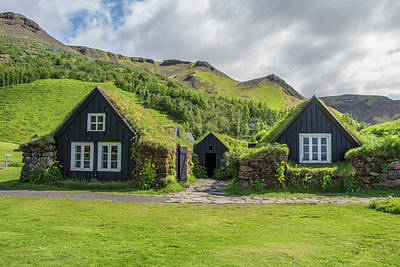 Turf Roof Houses And Shed, Skogar, Iceland Poster