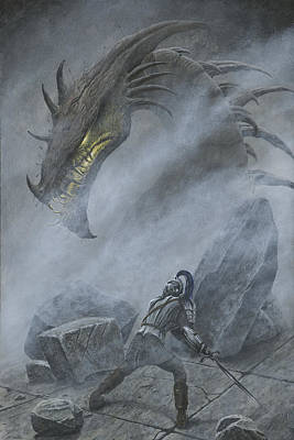 Turin Turambar Confronts Glaurung At The Ruin Of Nargothrond Poster by Kip Rasmussen