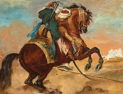 Turk Mounted On Chestnut Colored Horse Poster by Theodore Gericault