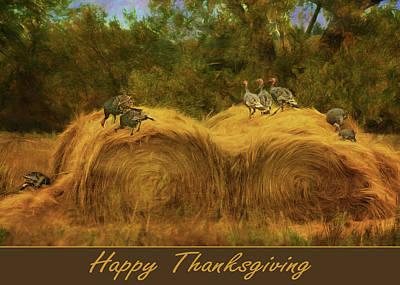 Turkeys In The Straw - Happy Thanksgiving Poster by Nikolyn McDonald