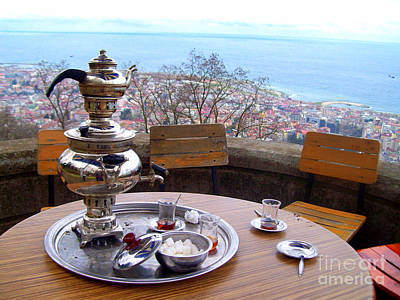 Turkish Tea On The Black Sea Poster by Lou Ann Bagnall