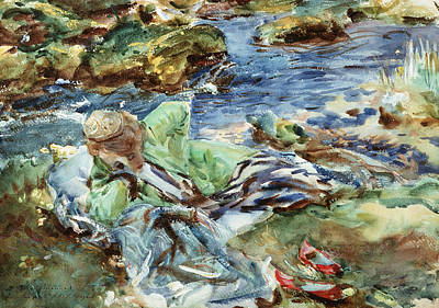 Turkish Woman By A Stream Poster by John Singer Sargent