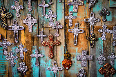 Turquoise And Crosses Poster