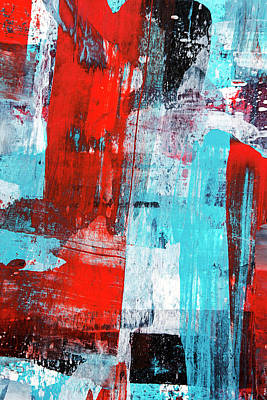 Turquoise And Red Abstract Painting Poster by Christina Rollo