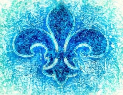 Turquoise Bleu Fleur De Lys Poster