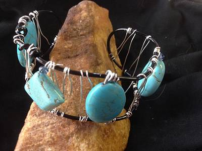 Turquoise Cabochon Bracelet Poster by J Cheyenne Howell