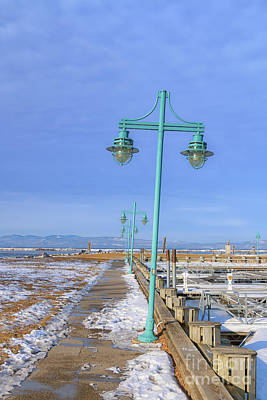 Turquoise Lampposts Poster by Elizabeth Dow