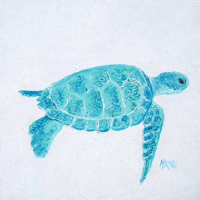 Turquoise Marine Turtle Poster by Jan Matson