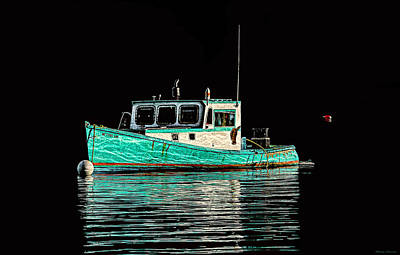 Turquoise Lobster Boat At Mooring Poster